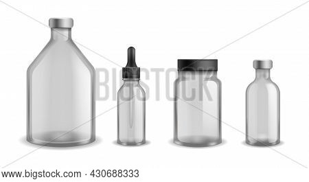 Bottles Glass Medical. Realistic Blank Aromatherapy Oil Cosmetic Containers. Transparent Empty Plast