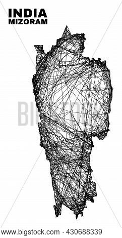 Carcass Irregular Mesh Mizoram State Map. Abstract Lines Are Combined Into Mizoram State Map. Wire C