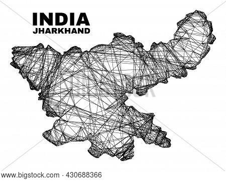Carcass Irregular Mesh Jharkhand State Map. Abstract Lines Form Jharkhand State Map. Wire Carcass 2d