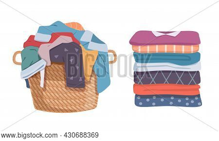 Dirty And Clean Clothes. Apparel Heap With Stains In Basket And Washed Clothing, Pile Different Towe