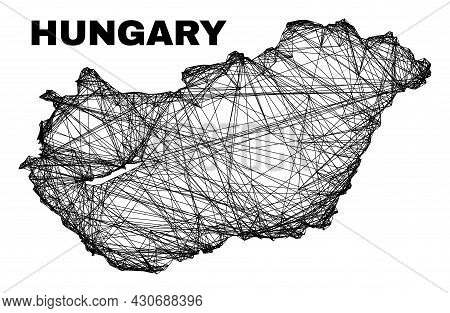 Wire Frame Irregular Mesh Hungary Map. Abstract Lines Form Hungary Map. Wire Carcass Flat Net In Vec
