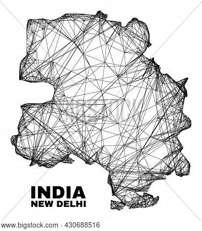 Carcass Irregular Mesh New Delhi City Map. Abstract Lines Are Combined Into New Delhi City Map. Wire