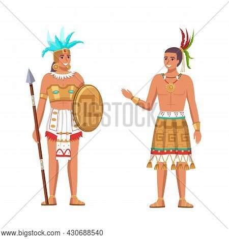 Indians Maya Civilization. Historical Heritage. Native American Ethnicity. Cartoon Man And Woman In