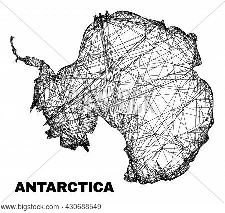 Wire Frame Irregular Mesh Antarctica Continent Map. Abstract Lines Are Combined Into Antarctica Cont