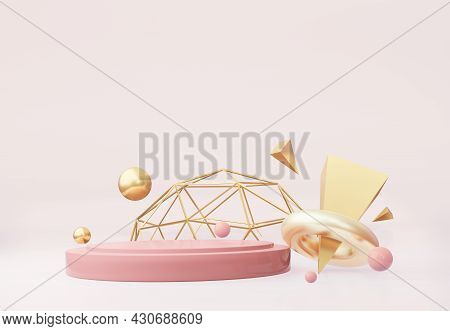 Abstract Podium With Gold Elements Of The Decor On A Light Beige Background. For The Application Of