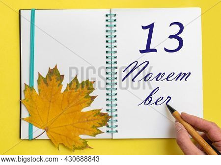 13th Day Of November. Hand Writing The Date 13 November In An Open Notebook With A Beautiful Natural