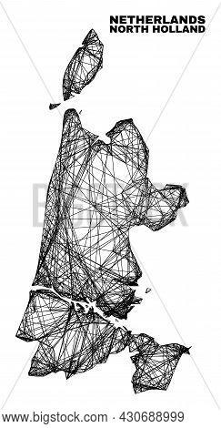 Wire Frame Irregular Mesh North Holland Map. Abstract Lines Form North Holland Map. Wire Frame Flat