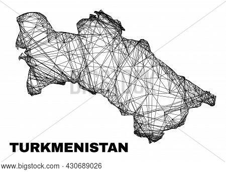 Wire Frame Irregular Mesh Turkmenistan Map. Abstract Lines Form Turkmenistan Map. Wire Frame 2d Net