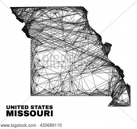 Wire Frame Irregular Mesh Missouri State Map. Abstract Lines Are Combined Into Missouri State Map. W
