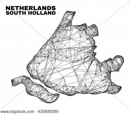 Network Irregular Mesh South Holland Map. Abstract Lines Are Combined Into South Holland Map. Wire C