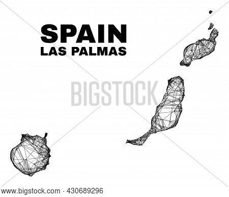 Carcass Irregular Mesh Las Palmas Province Map. Abstract Lines Form Las Palmas Province Map. Linear
