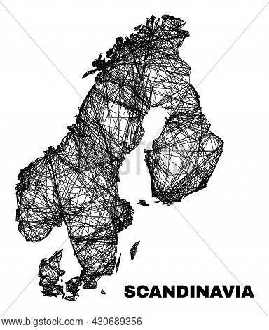 Carcass Irregular Mesh Scandinavia Map. Abstract Lines Are Combined Into Scandinavia Map. Wire Carca