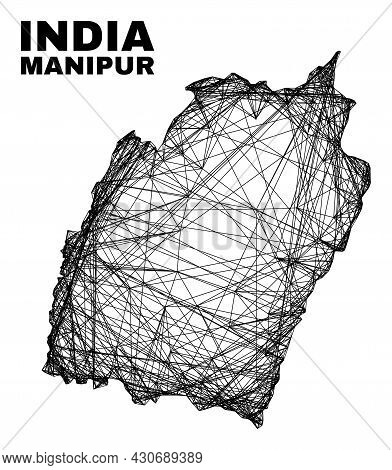 Wire Frame Irregular Mesh Manipur State Map. Abstract Lines Are Combined Into Manipur State Map. Wir