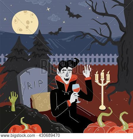Happy Halloween Holiday Square Design Greeting Card. Vampire In Moonlight Night Cemetery With Pumpki