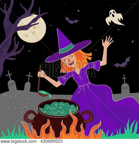 Happy Halloween Holiday Square Design Greeting Card. Magic Poisonous In Cauldron In Moonlight Night