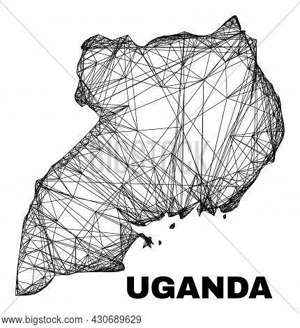 Wire Frame Irregular Mesh Uganda Map. Abstract Lines Form Uganda Map. Wire Frame 2d Network In Vecto