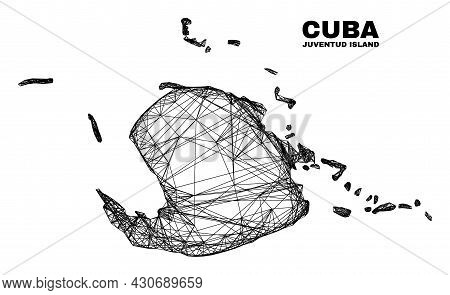 Wire Frame Irregular Mesh Juventud Island Map. Abstract Lines Are Combined Into Juventud Island Map.