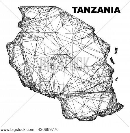 Wire Frame Irregular Mesh Tanzania Map. Abstract Lines Are Combined Into Tanzania Map. Wire Carcass