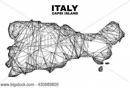Wire Frame Irregular Mesh Capri Island Map. Abstract Lines Are Combined Into Capri Island Map. Wire