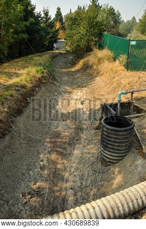 This Is A Photo Of A Dry Irrigation Ditch.