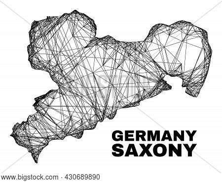 Wire Frame Irregular Mesh Saxony Land Map. Abstract Lines Are Combined Into Saxony Land Map. Wire Fr