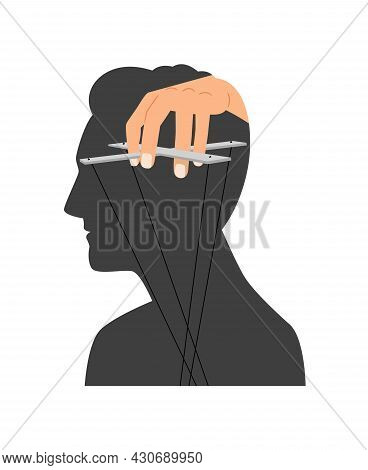 Mind Manipulation. Head Brain Control Silhouette Vector Illustration, Human Thought Authority Manipu