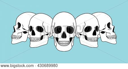Skulls Views. Funny Horror Spooky Skull Front And Side View Illustrations Isolated On Background, Ve
