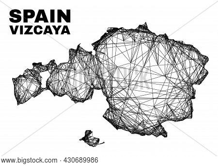 Wire Frame Irregular Mesh Vizcaya Province Map. Abstract Lines Are Combined Into Vizcaya Province Ma