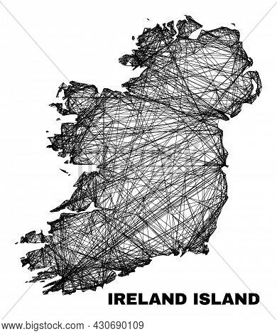 Wire Frame Irregular Mesh Ireland Island Map. Abstract Lines Are Combined Into Ireland Island Map. W