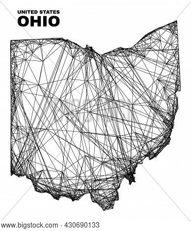 Net Irregular Mesh Ohio State Map. Abstract Lines Form Ohio State Map. Wire Carcass Flat Net In Vect