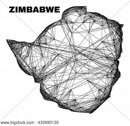 Net Irregular Mesh Zimbabwe Map. Abstract Lines Are Combined Into Zimbabwe Map. Wire Carcass 2d Net