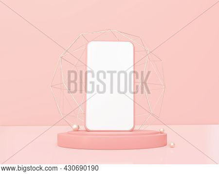 A Luxury Phone On The Podium With Gold Decor Elements. On A Light Coral Background. 3d Rendering.