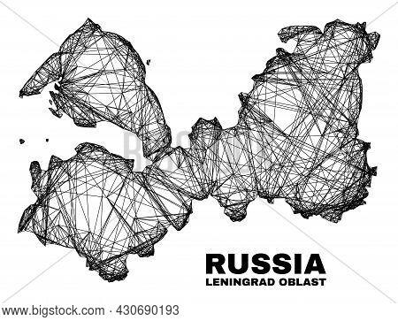 Wire Frame Irregular Mesh Leningrad Region Map. Abstract Lines Form Leningrad Region Map. Wire Frame