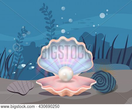 Underwater Ocean Fauna With Fishes And Seaweed. Ocean Bottom With Marine Life Reprsentatives. Marine