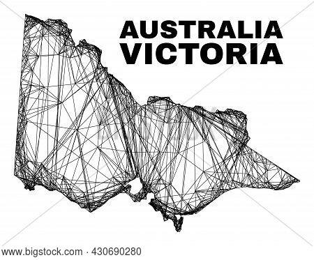 Wire Frame Irregular Mesh Australian Victoria Map. Abstract Lines Form Australian Victoria Map. Wire