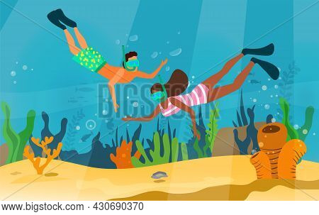 Man And Woman Snorkeling, Exploring Underwater World With Fishes, Corals, Reefs. People Dive And Loo