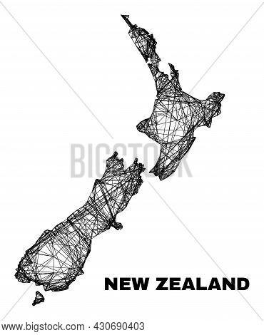 Carcass Irregular Mesh New Zealand Map. Abstract Lines Form New Zealand Map. Linear Carcass 2d Netwo