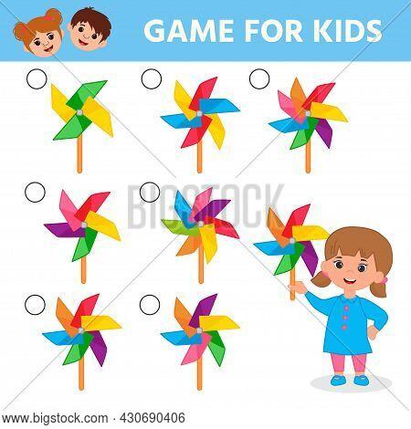 Game For Preschool Children. Multicolored Pinwheel. Find Two Identical Turntables. Vector Illustrati