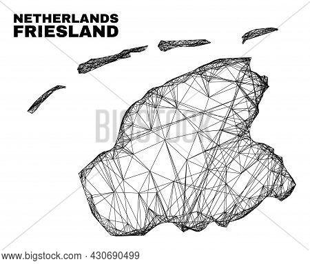 Net Irregular Mesh Friesland Province Map. Abstract Lines Form Friesland Province Map. Linear Carcas
