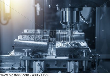 The Cnc Milling Machine Rough Cutting The Injection Mold Parts By Indexable  Endmill Tools. The Mold