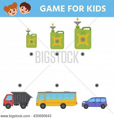 Find The Correspondence Between The Can Of Gasoline And The Car. A Game For The Development Of Logic