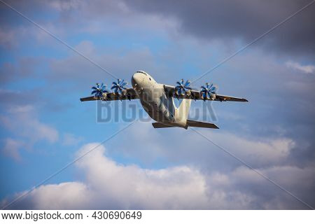 Ukraine, Kyiv - August 18, 2021: Antonov An-70 Military Cargo Aircraft. Large Ukrainian Four-propell