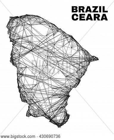 Wire Frame Irregular Mesh Ceara State Map. Abstract Lines Form Ceara State Map. Wire Carcass 2d Netw