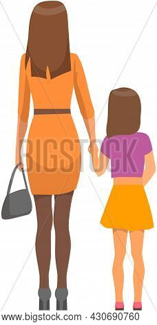 Happy Family Mother And Daughter Walking Outdoors Together Outside Back View. Woman Holds Her Daught