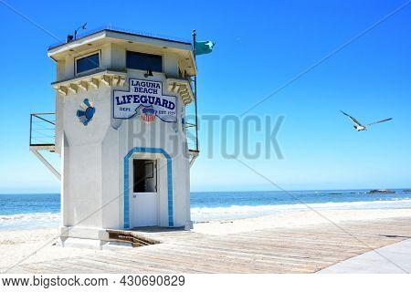 LAGUNA BEACH, CALIFORNIA - MAY 28, 2019: Lifeguard Tower on Main Beach in the popular Southern California beach town.