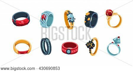 Game Ring. Cartoon Decorative Jewelry Icons For Gaming Inventory Ui. Medieval Royal Accessories Coll