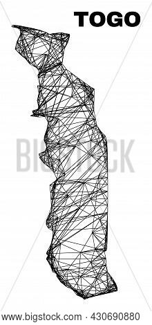 Net Irregular Mesh Togo Map. Abstract Lines Form Togo Map. Linear Carcass 2d Net In Vector Format. V