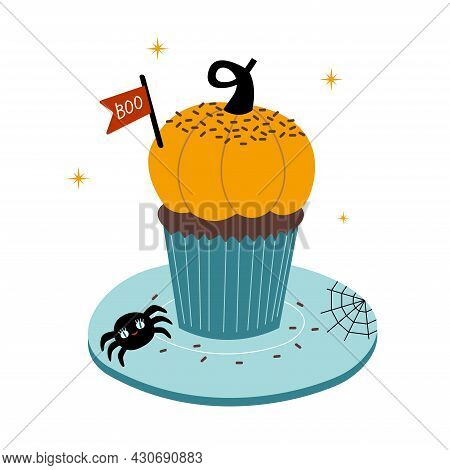 Cute Sweet Pumpkin Cupcake For Halloween With Little Spider Web And Boo Sign. Vector Illustration In