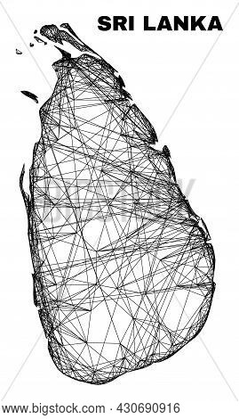 Wire Frame Irregular Mesh Sri Lanka Map. Abstract Lines Are Combined Into Sri Lanka Map. Wire Carcas