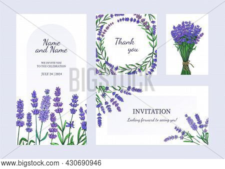Lavender Posters. Greeting Card And Invitation With Bouquets Of Odorous Garden Flowers. Purple Bloom